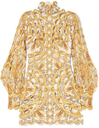 Zimmermann Zippy Cutout Embroidered Printed Silk And Linen-blend Dress - Gold