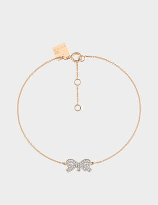 ginette_ny Tiny Diamond Bow Bracelet in 18K Rose Gold and Diamonds