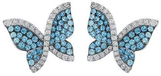 Swarovski 18K White Gold Blue Topaz and Diamond Butterfly Earrings