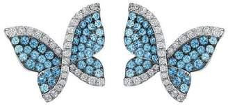 Swarovski 18K White Gold Blue Topaz and Diamond Butterfly Earrings