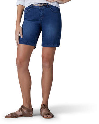 Lee Total Freedom Comfort Waistband 7 Denim Belted Shorts-Petite