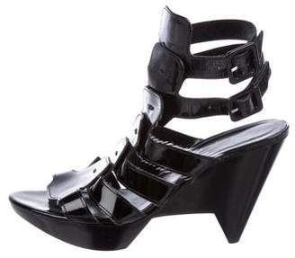 Robert Clergerie Patent Leather Wedge Sandals