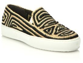 Robert Clergerie Tribal Raffia Slip-On Sneakers $450 thestylecure.com
