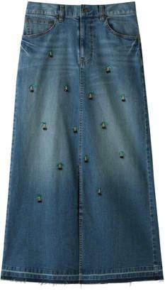 Muveil (ミュベール) - ミュベール チェリー刺繍デニムスカート