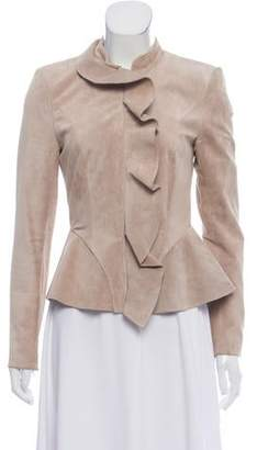 Intermix Suede Zip-Up Jacket