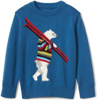 Gap Crazy stripe bear crew sweater