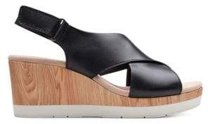 Clarks Collection By Cammy Pearl Leather Wedge Sandals