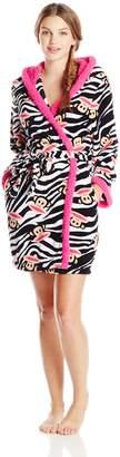 Paul Frank Women's Sweet and Cozy Zebra Julius Print Hoodie Robe