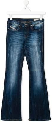 Diesel Teen distressed flared jeans