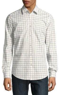 HUGO BOSS Grid-Print Cotton Button-Down Shirt