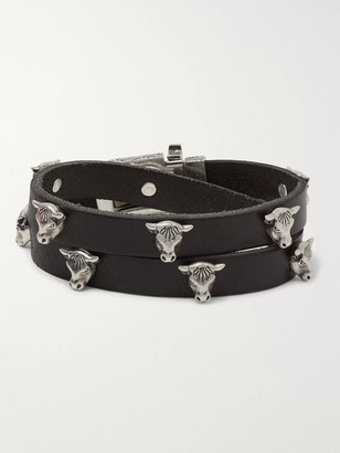 Gucci Leather and Silver-Tone Wrap Bracelet - Men - Black