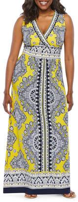 Studio 1 Sleeveless Puff Print Maxi Dress