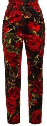 Dolce & Gabbana - Rose Print Velvet Trousers - Womens - Black Multi