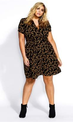 City Chic Citychic Golden Dream Dress - black