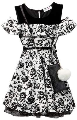 Beautees Cold Shoulder Belted Flocked Dress with Accessory Bag (Big Girls)