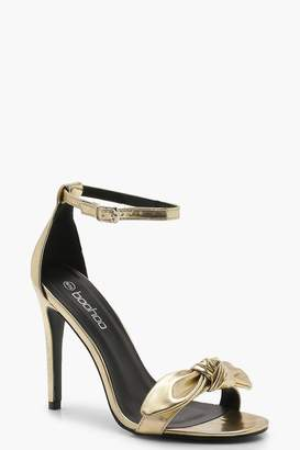 boohoo Metallic Bow Front Two Part Heels