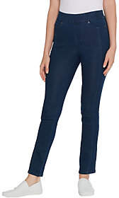 Martha Stewart Petite Knit Denim Ankle Jeans w/Seam Detail