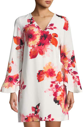 Iconic American Designer Floral Bell-Sleeve Mini Dress