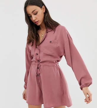 Asos Tall DESIGN Tall button front slouchy waisted boiler romper