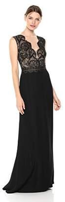 Tadashi Shoji Women's Sleeveless lace/Crepe Gown, Black/Nude, 2