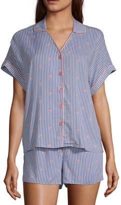 Ambrielle Womens 2-pc Short Sleeve Shorts Pajama Set