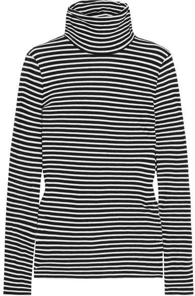 J.Crew - Tissue Striped Cotton-jersey Turtleneck Top - Black