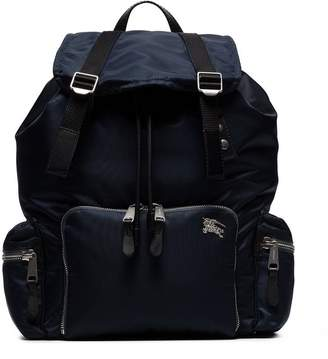 Burberry blue nylon padded buckle backpack
