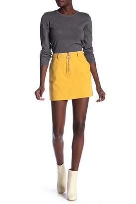 Know One Cares O-Ring Zip Denim Mini Skirt