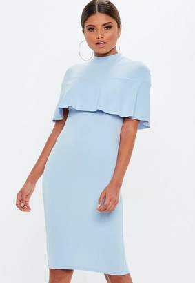 Missguided Powder Blue Frill Overlay Shoulder Midi Dress