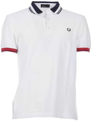 Fred Perry Contrast Collar Pique White Polo Shirt
