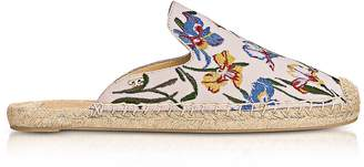 Tory Burch Max New Ivory/Painted Iris Embroidered Slide Espadrilles