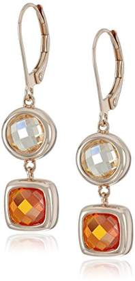Rose Gold Plated Sterling Silver Light Champagne and Light Orange Cubic Zirconia Contemporary Bezel Set Design Leverback Drop Earrings