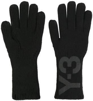Y-3 logo print gloves