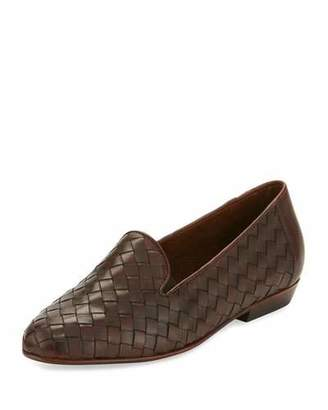 Sesto Meucci Nader Woven Leather Loafer, Tan $395 thestylecure.com