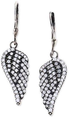 King Baby Studio Women's Pave Wing Drop Earrings in Sterling Silver