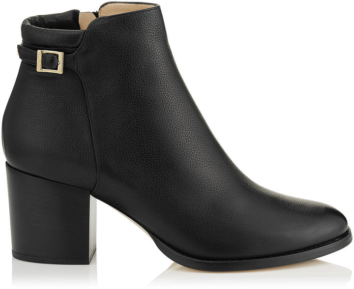 Jimmy Choo METHOD 65 Black Grainy Leather Ankle Boots with Metallic Heel