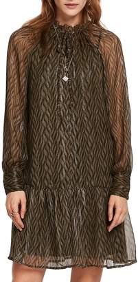 Scotch & Soda Print Metallic Ruffle Hem Dress