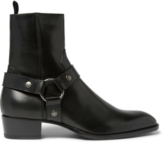 Saint Laurent Leather Harness Boots $1,145 thestylecure.com