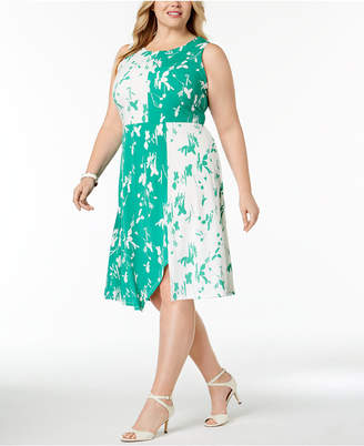 Alfani Plus Size Colorblocked Fit & Flare Dress, Created for Macy's