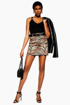 Topshop Womens Petite Tiger Print Denim Skirt
