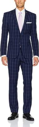 Nick Graham Men's Windowpane Suit with Hemmed Pant