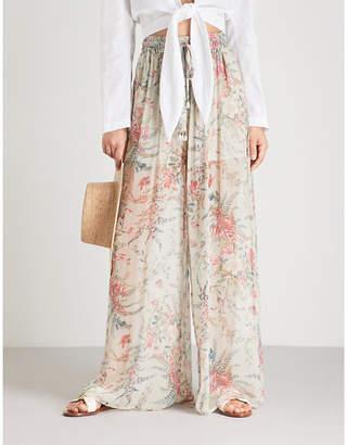 Zimmermann Bayou floral-print wide-leg silk-chiffon trousers