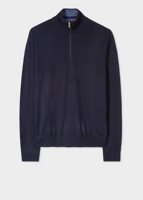 Paul Smith Men's Dark Navy Funnel Neck Merino Wool Half-Zip Sweater