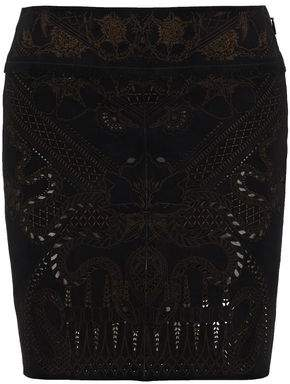 Roberto Cavalli Laser-Cut Printed Suede Mini Skirt
