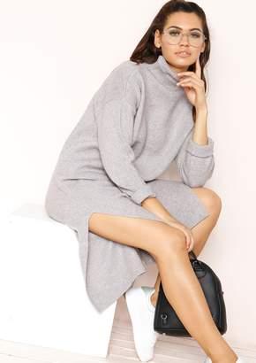 6383936f36cd15 Missy Empire Missyempire Alexa Grey Knit Jumper Dress