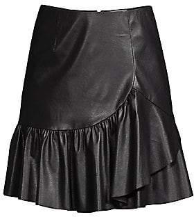 Rebecca Taylor Women's Faux Leather Ruffled A-Line Skirt - Size 0