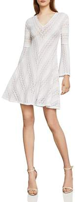 BCBGMAXAZRIA Bell Sleeve Lace A-Line Dress