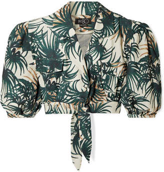 PatBO Palm Cropped Tie-front Printed Woven Top - Emerald