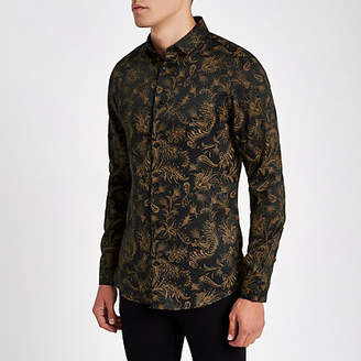 River Island Brown paisley slim fit long sleeve shirt