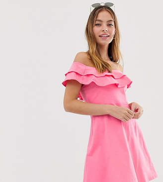Asos DESIGN Petite double frill off shoulder sundress